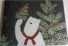 "CHRISTMAS Glass Cutting Board 12"" x 15""  POLAR BEAR AND CARDINALS"