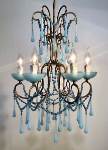 Antique 1930 Chandelier Louis XV French Blue opaline Murano RARE 6 Lights Rare