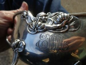 ANTIQUE ART NOUVEAU UNGER BROTHERS STERLING LADY LILY REPOUSSE GRAVY BOAT