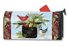 HOLLY HAT CARDINAL & CHICKADEE Christmas Magnetic Mailbox Cover Made in USA