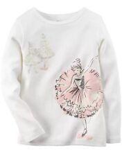 NWT Carters Girl White Ballerina Dancer Winter Fall Long Sleeve Tee Top Shirt 2T