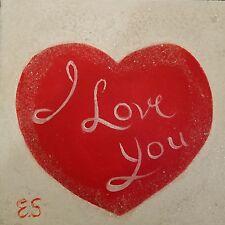Valentine, painting on canvas signed, original acrylic, wall art,