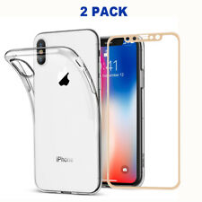 iPhone X Clear Soft Case TPU Cover 3D 9H HD Tempered Glass Screen Protector Gold