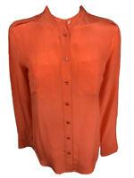 Equipment Femme Blouse XS Long Sleeve Button Coral Orange Silk Pockets (E33)