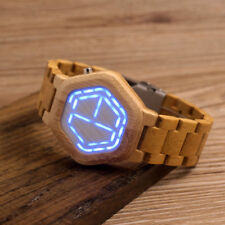 BOBO BIRD E03 Digital Wood Watch Night Vision Wooden Watch Mini LED Wristwatch
