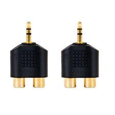 2 Pcs Stereo 3.5mm Audio Adapter Converter Headphones to 2 RCA Splitter Adapter