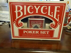 New BICYCLE Poker Set 2 Decks Playing Cards 200 Poker Chips Instructions