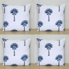 """16"""" Indian Hand Block Blue Palm Tree Printed Home Decorative 4 Pcs Cushion Cover"""