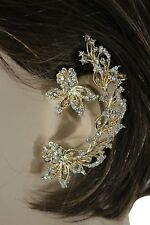 Women One Side Long Earring Fashion Jewelry Gold Metal Flower Leaf Wedding Bride