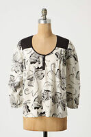 Anthropologie Butterfly Blouse Peasant Top Boho Summer Casual Career Size 4