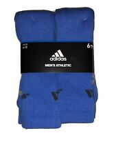 Adidas Original 6 Pack Mens And Women Athletic Blue Cushioned Crew Socks 6-12 🔥