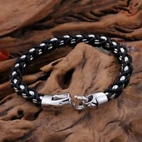 Men multilayer Silver Stainless Steel Byzantine Weave Chain Leather Bracelet