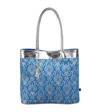 ANOKHI cotton tote handbag beach summer canvas bag blue silver
