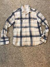 Lucky Brand True Indigo Plaid Trucker Shirt Western Shirt Size Medium M Button