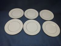 "Gibson Designs ""Black Tie"" Set/6 Salad Plates White/Gold Trim EUC"