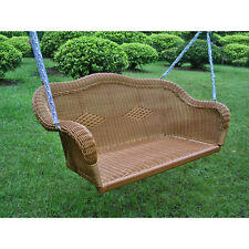 Brown Resin Wicker Hanging Outdoor Swing Home Patio Garden Furniture Yard Porch