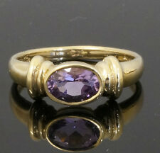 9ct Yellow Gold Rubover Set Amethyst Solitaire Ring (Size N)