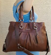 Coach F15513 Ashley Brown Leather Carryall Shoulder Bag Tote Handbag Purse EUC