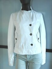 COSTUME NATIONAL White Leather Jacket Size 42 S M Made in Italy