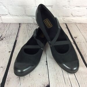 Munro American Angie Black Leather/Textile Elastic Mary Jane Loafer Size 12 SS