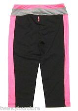 Hard Tail Tri Tone Flat Waist Legging Crops in Black Pink Gray GYM YOGA sz M