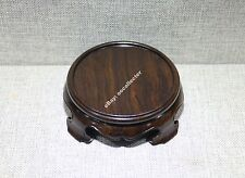 stand display pedestal brown Hei-zhi wood China Ruyi-leg round wooden base 10cm