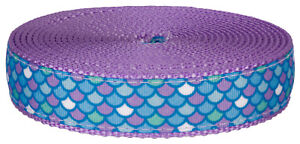 1 Inch Mermaid Scales Ribbon on Lavender Nylon Webbing, 5 Yards