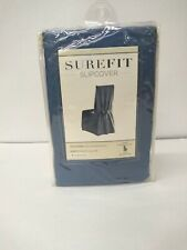 SUREFIT SHORT SLIPCOVER FOR ARMLESS DINING CHAIR W/BACK TIES - BLUESTONE