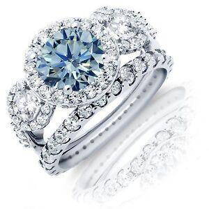 Brilliant Aquamarine Halo Rhodium Sterling Silver Wedding Engagement Ring Set