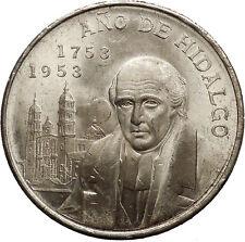 1953 Mexico Independence Hero Hidalgo METROPOLITAN CATHEDRAL Silver Coin i53098