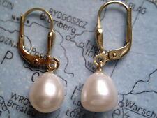 Perlenohrhänger Gold 585 Tropfenform, Ohrhänger Gold mit Tropfen Zuchtperlen