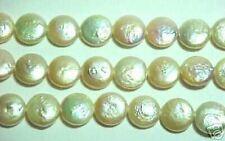 """COIN PEARLS 16"""" STRAND PEACH 12mm"""