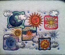 CELESTIAL SUN/MOON EMBROIDERED SET OF 2 HAND TOWELS NEW