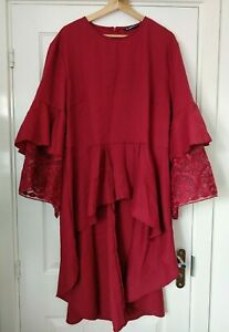 SHEIN Burgundy Red Tiered Dipped Hem Tunic Top with Embroidered Detail Size 4XL