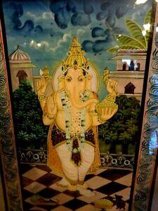 "Ganesh Painting Handmade Indian Hindu Elephant God Lord Ganesha Art 27"" x 39"""