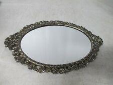New listing Vintage Gold Gilt Vanity Dresser Oval Mirror Flowers Perfume Tray