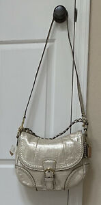 NWT Coach Poppy Whipstitch Platinum Metallic Leather Convertible Hobo F19008