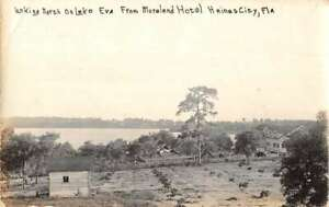 Haines City Florida Lake Eva from Moreland Hotel Real Photo Postcard AA36099