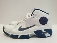 P702 MENS NIKE WHITE BLUE LACE UP HIGH TOP TRAINERS UK 10.5 EU 45.5