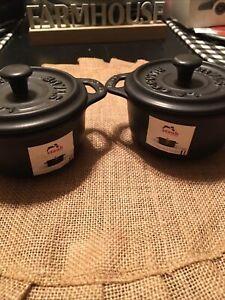 Staub 2  pc Mini La Cocotte Black Ceramic Pots With Lids-NEW..!