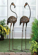 Cast Iron Flamingo Yard Art Pair