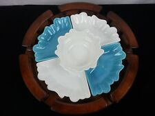 Mid Century California Pottery 5 piece USA L-58 Appetizer Dishes w/ Lazy Susan