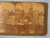 Stereoview Underwood 1 Art Boy Climbing On Books And Drawing On Wall 1905 (O)
