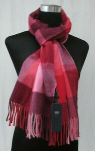 LADIES MARKS AND SPENCER MULBERRY MIX CHECK SCARF WITH TASSELS