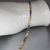 Armband mit ca. 0,50ct Brillant W-si und ca. 1,50ct Saphir in 750/18K Gelbgold