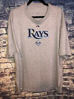 Tampa Bay Rays Majestic Grey MLB Baseball T-Shirt Mens 2XL 100% Authentic