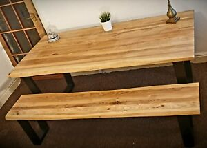 Industrial Solid Wood Dinning Table & Bench