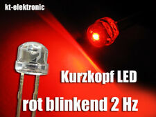 10 Stk. Blink-LED 5mm Kurzkopf rot blinkend ca. 2 mal pro Sekunde 1.5-2.5 Hz