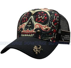 """Red Monkey Poder """"Dia"""" RM1267 Limited Edition New Fashion Skull Trucker Hat Cap"""