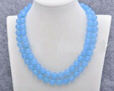 Natural 10mm Blue Chalcedony Gemstone Round Necklace 35 Inch